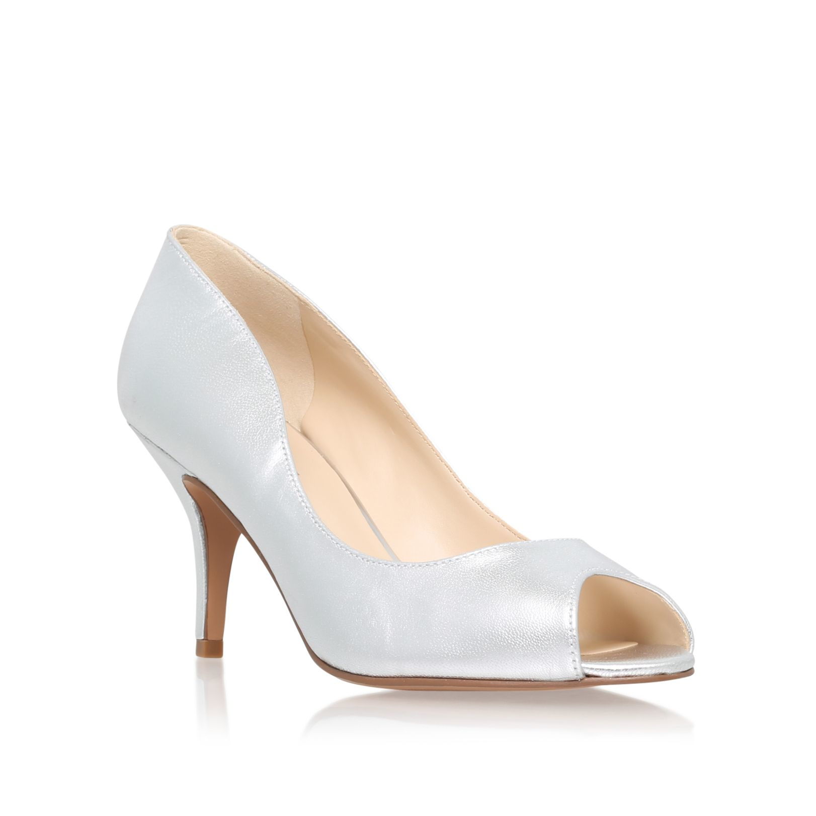 Silver Mid Heel Peep Toe Shoes
