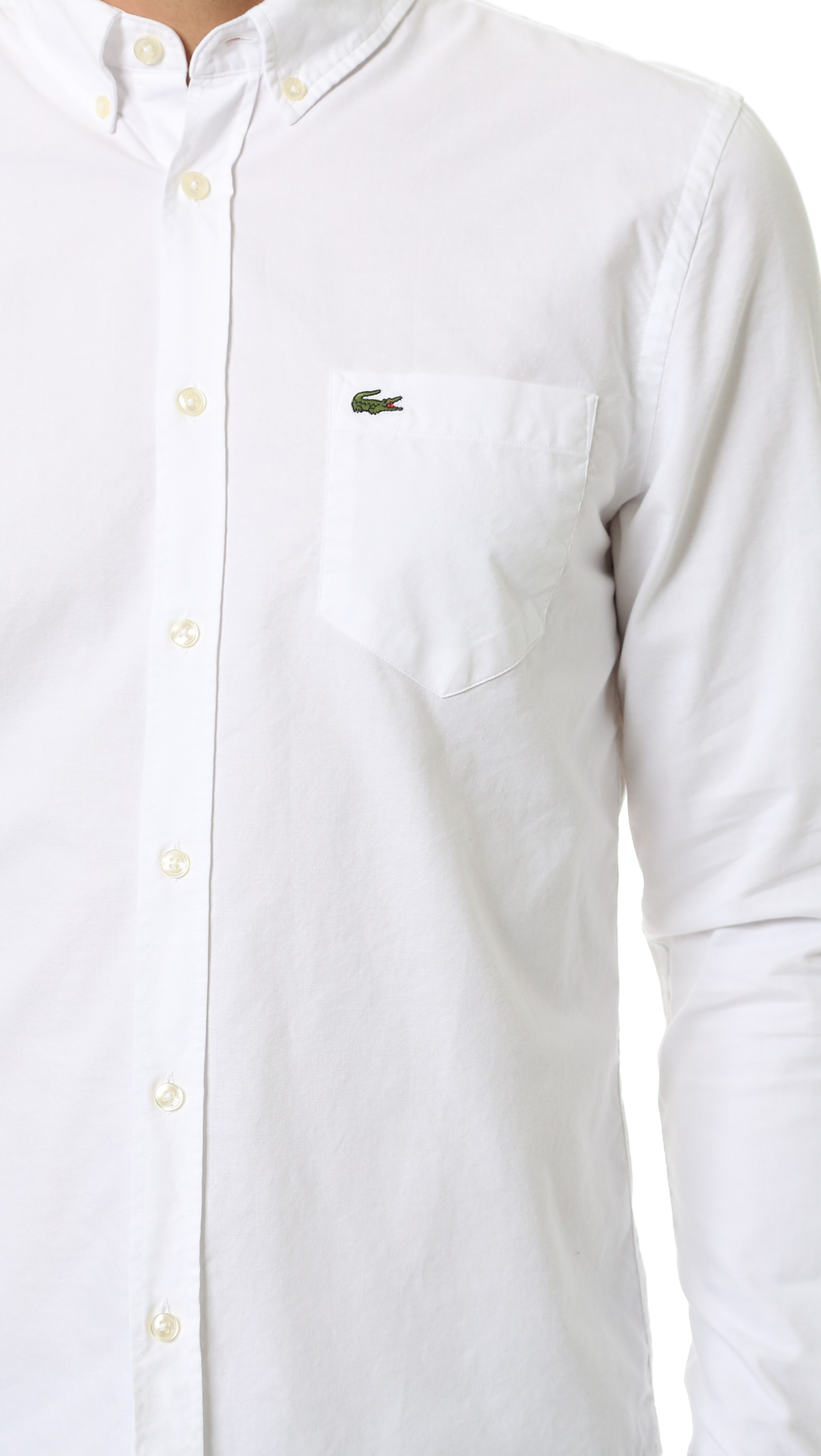 6664d7e9 Lacoste Cotton Casual Oxford Shirt in White for Men - Lyst