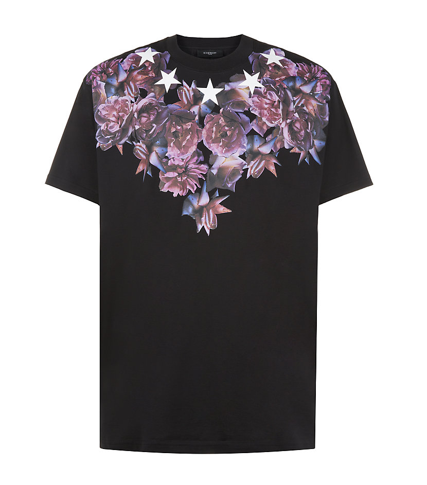 Givenchy rose and star print tshirt in pink for men lyst for Givenchy star t shirt