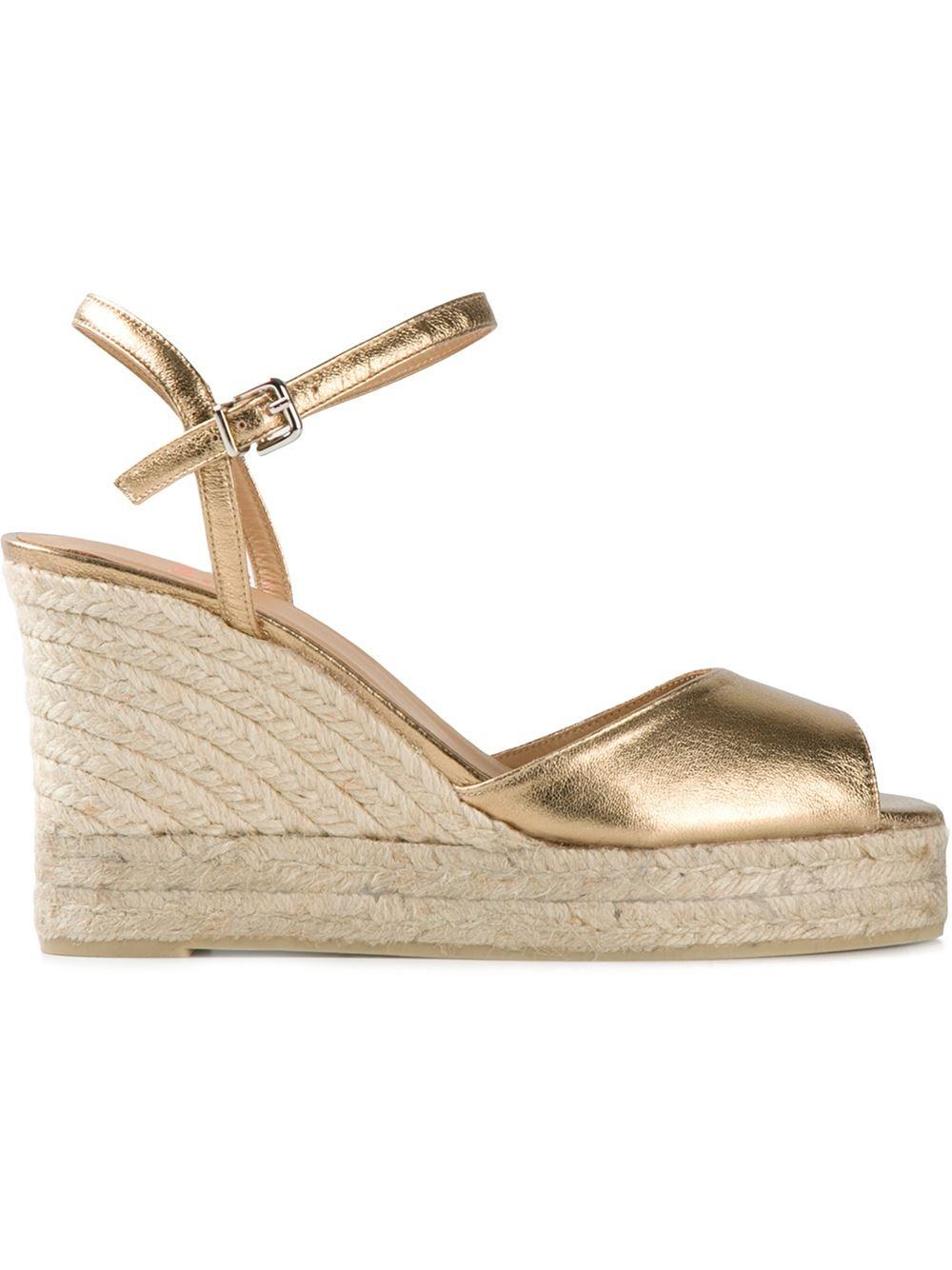 castaner metallic wedge sandals in metallic lyst