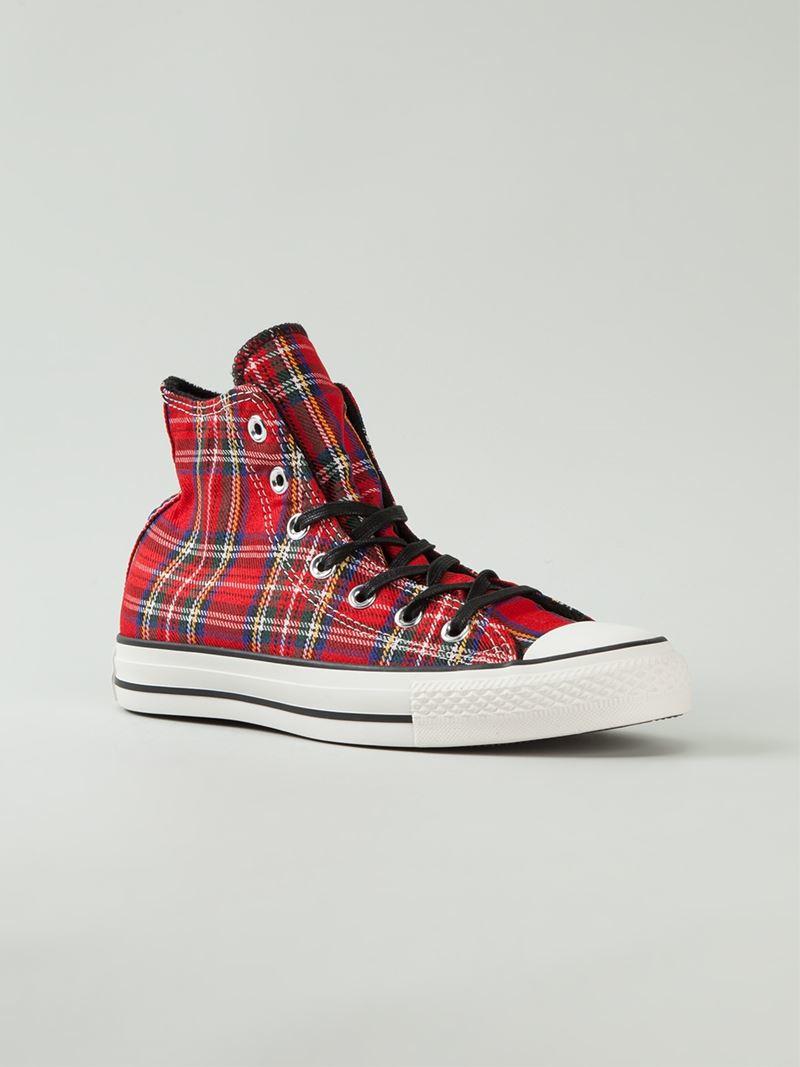 Converse Tartan Hi-Top Sneakers In Red - Lyst-8618