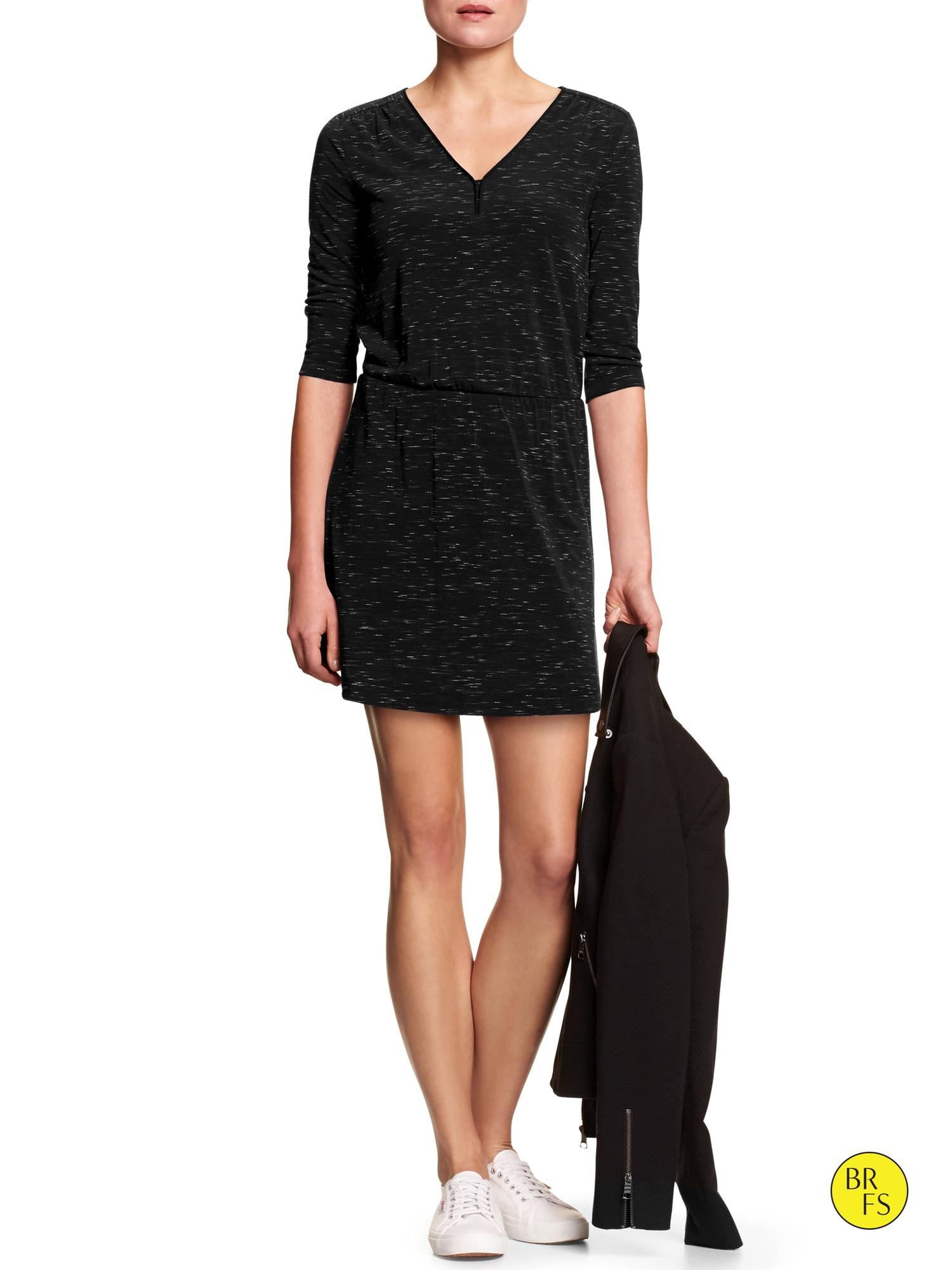 Banana republic Factory Space-Dyed Dress in Black | Lyst