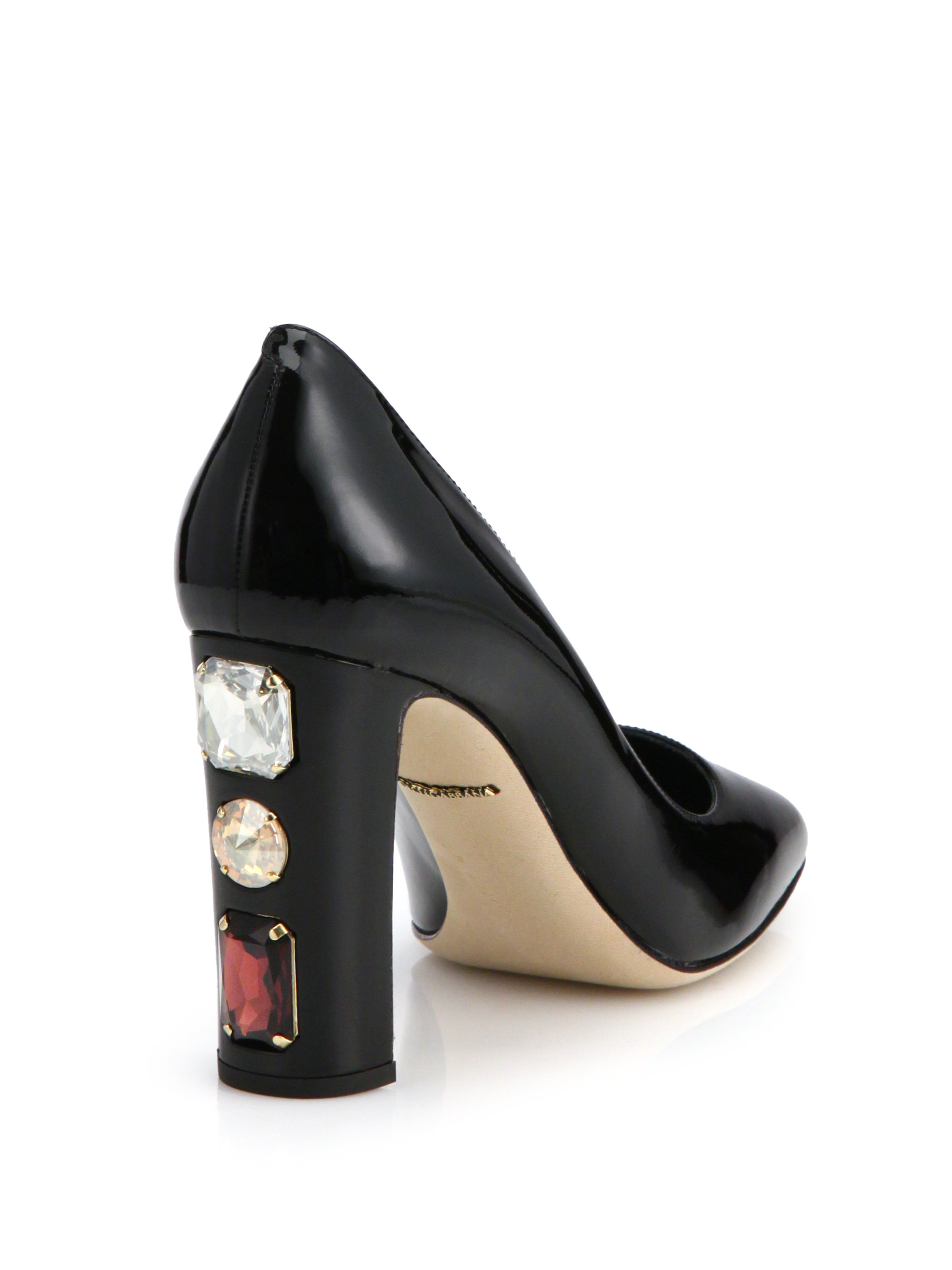 Dolce & gabbana Patent Leather Jewel-heel Pumps in Black ...