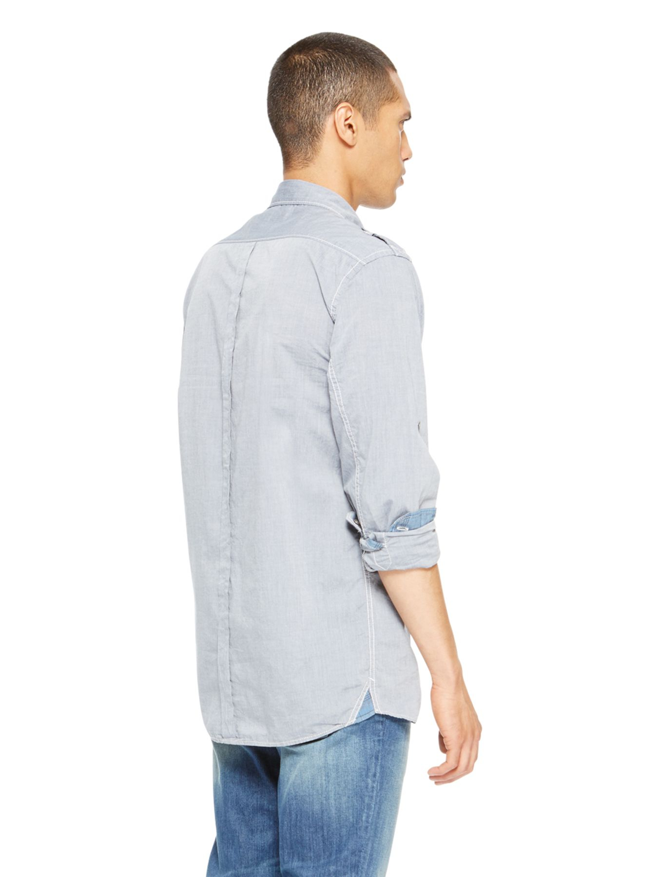 Dkny blue jeans chambray shirt for men lyst for Chambray jeans