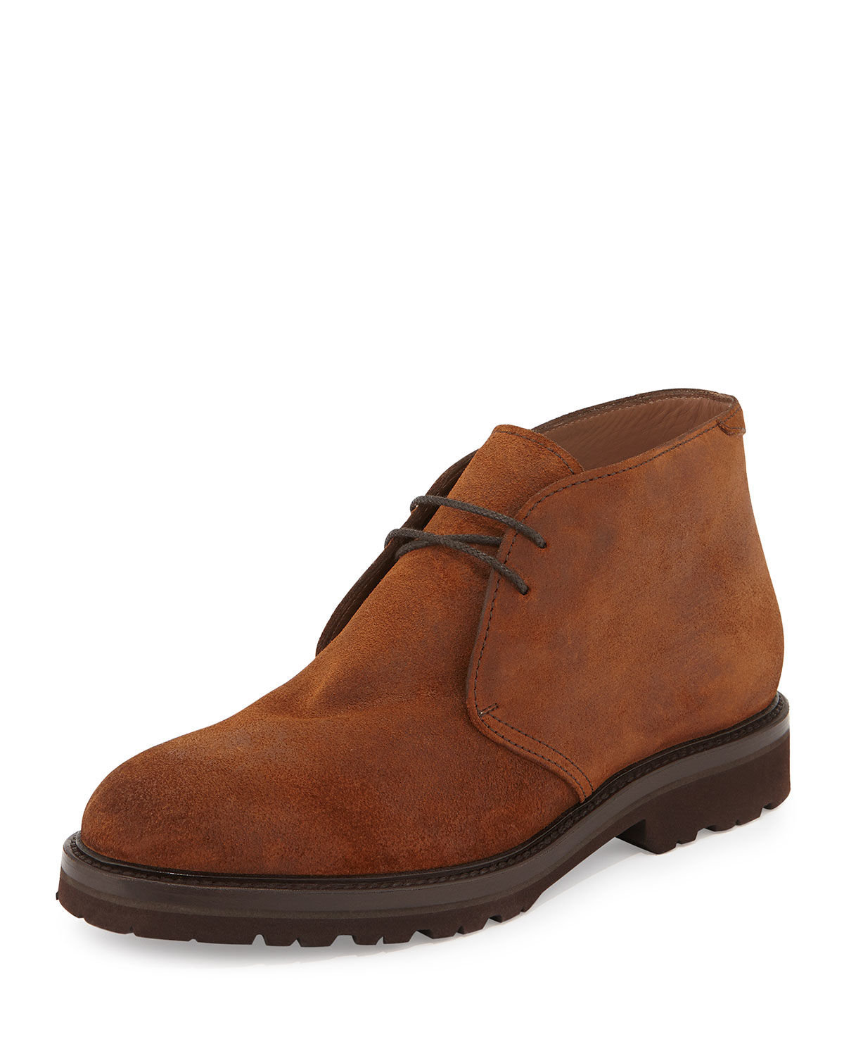 brunello cucinelli lace up suede chukka boots in brown lyst