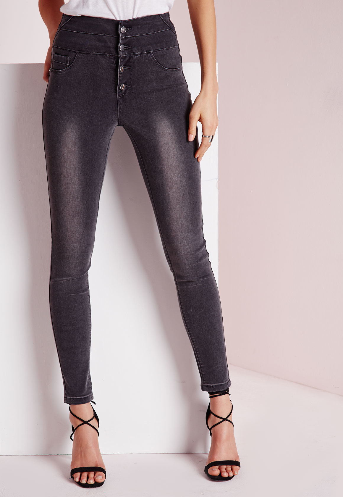 7 For All Mankind® b(air) High Waist Raw Hem Ankle Skinny Jeans (Pure Soft Grey).