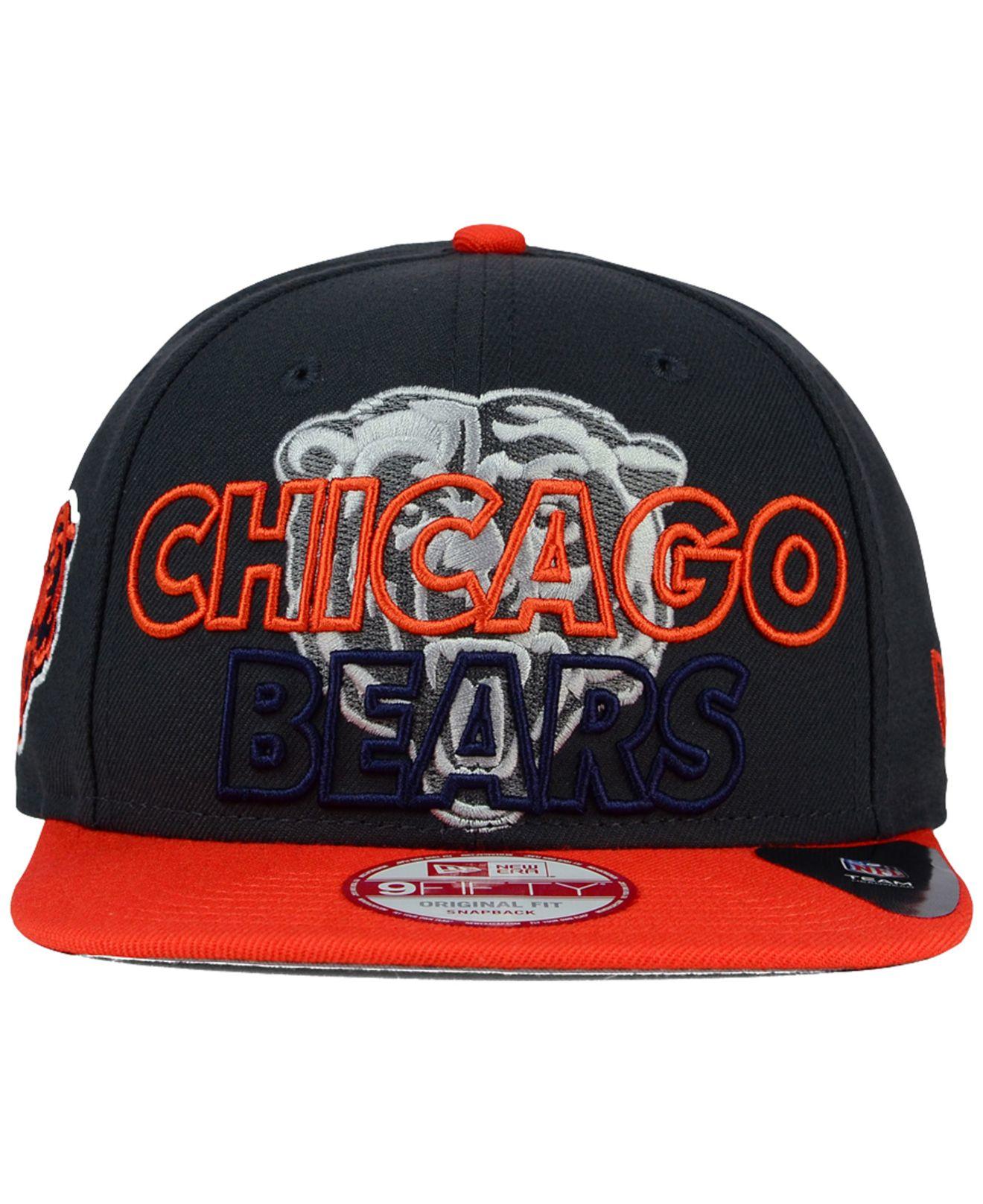 9e8d783965d sale lyst ktz chicago bears graph outline 9fifty snapback cap in orange  4dff4 8650c