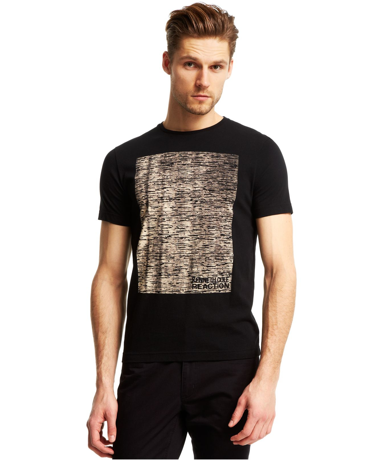 kenneth cole reaction crewneck graphic logo tshirt in
