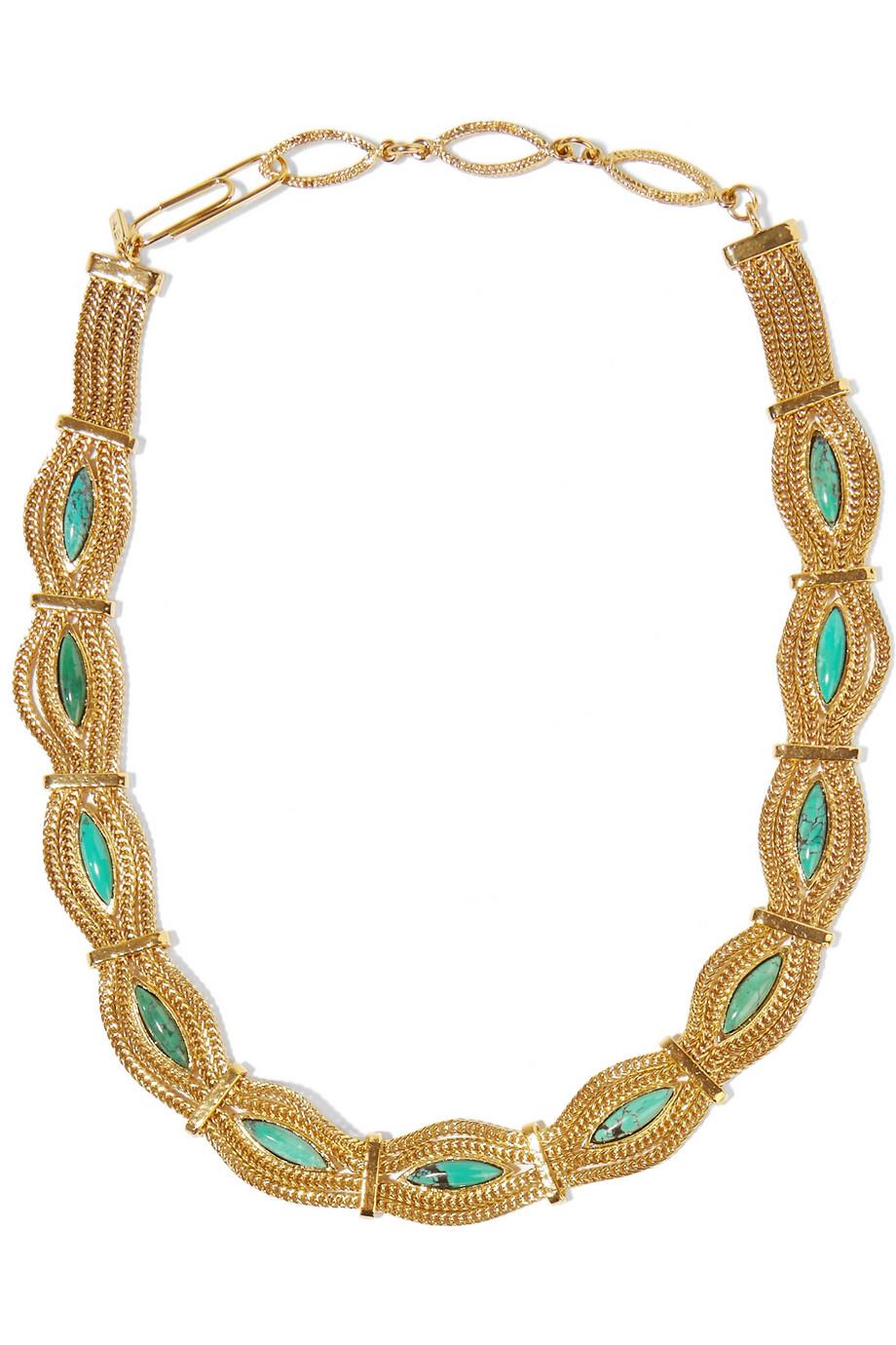 Aurelie bidermann Gold-plated Turquoise Necklace in ...