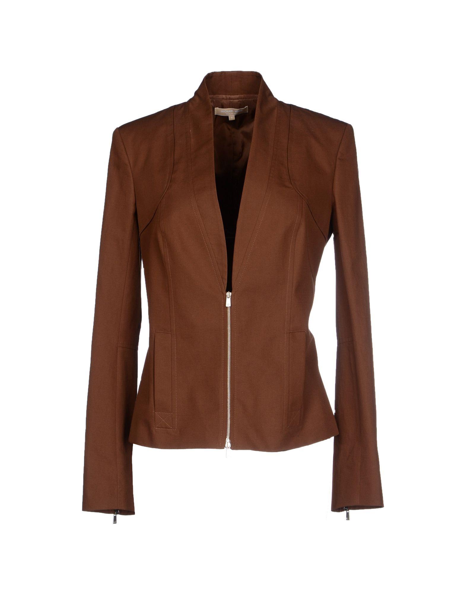 michael kors jacket in brown save 70 lyst. Black Bedroom Furniture Sets. Home Design Ideas