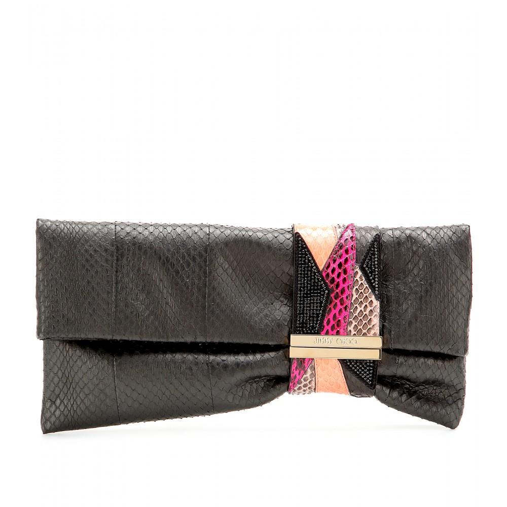 lyst jimmy choo chandra snakeskin clutch in black. Black Bedroom Furniture Sets. Home Design Ideas