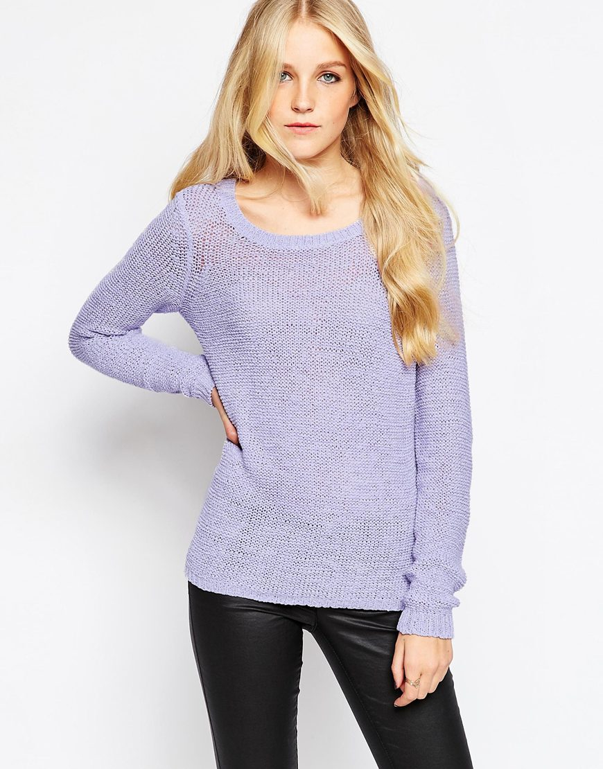 Vero Moda Knitting Yarns : Vero moda fine knit jumper in purple lyst