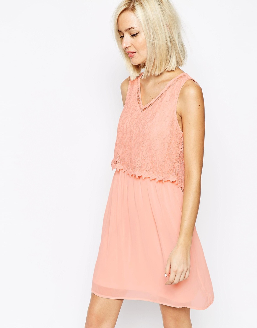 lyst vero moda lace detail dress in pink. Black Bedroom Furniture Sets. Home Design Ideas