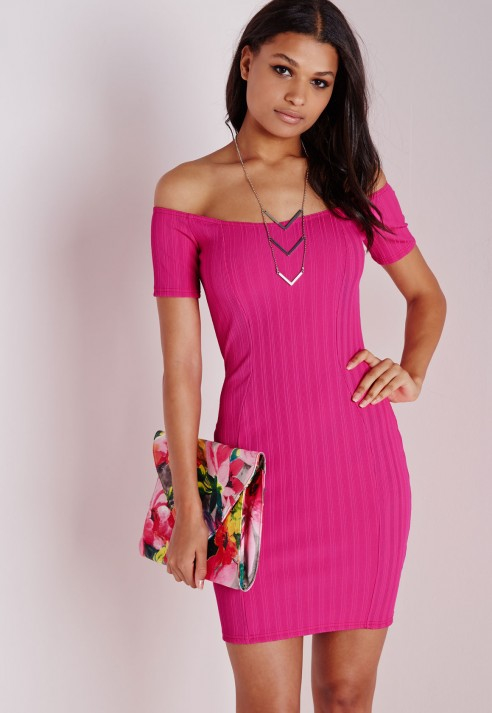 Missguided Ribbed Bardot Bodycon Dress Hot Pink Lyst