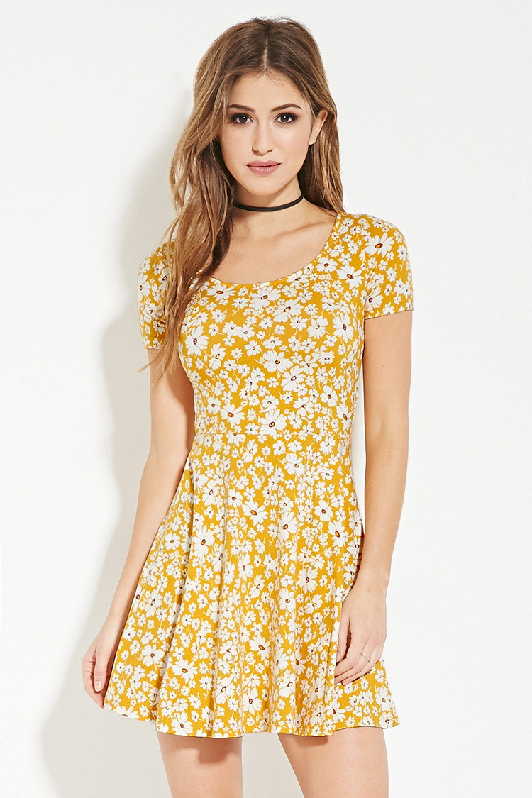 Lyst - Forever 21 Floral Print Skater Dress in Yellow - photo #22