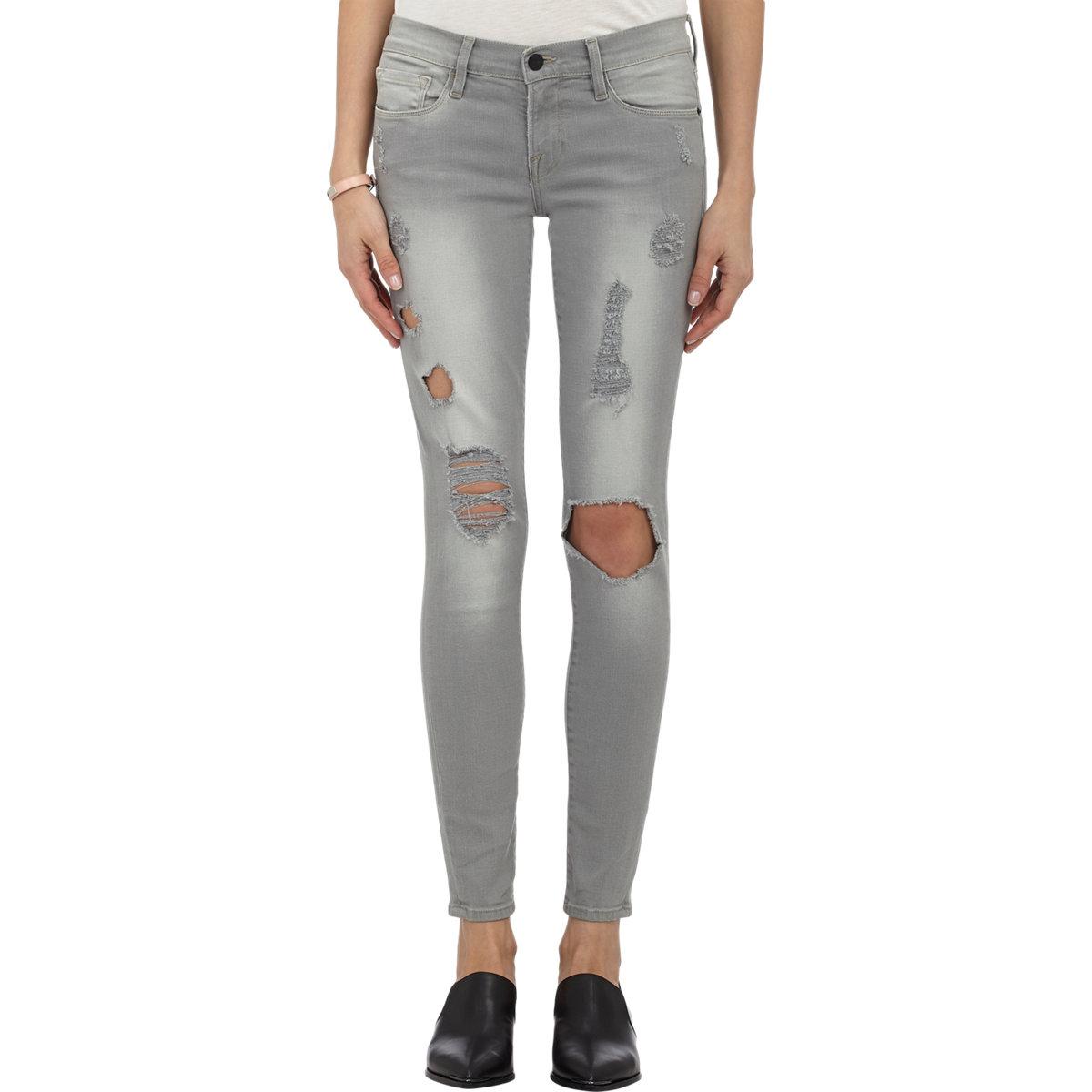 frame harding skinny jeans in gray lyst. Black Bedroom Furniture Sets. Home Design Ideas