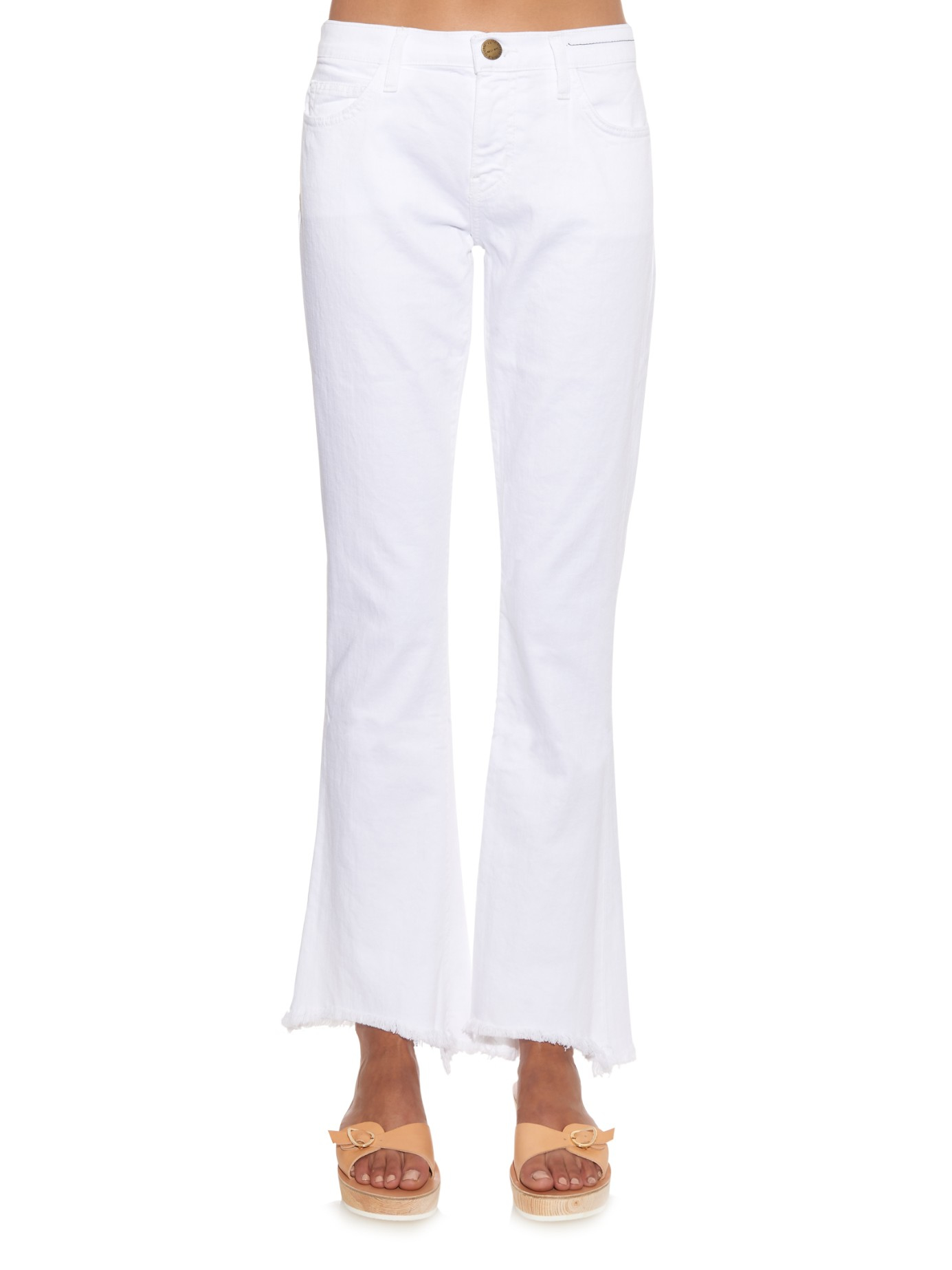 Current/Elliott Denim The Flip Flop Mid-rise Flared Cropped Jeans in White
