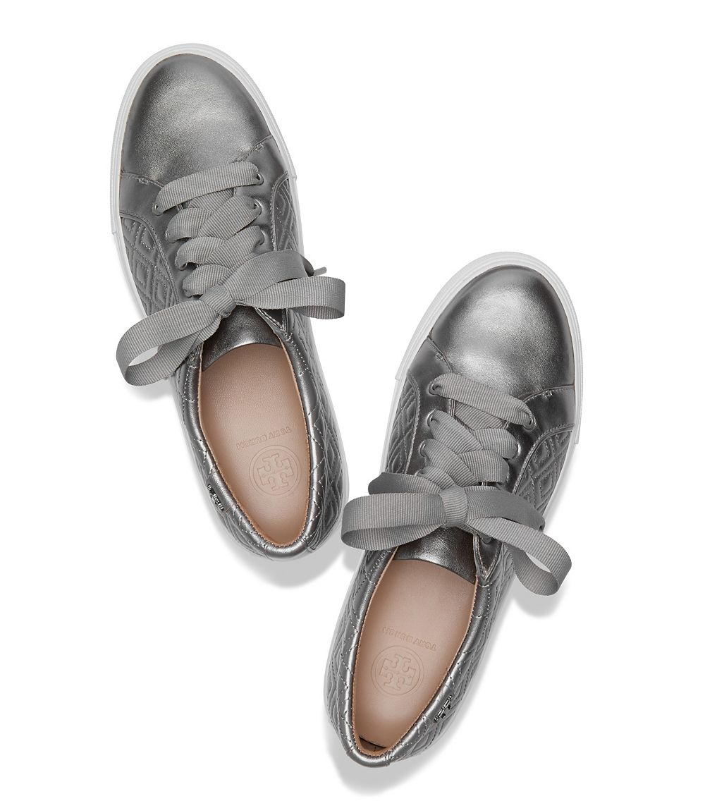 Lyst Tory Burch Marion Quilted Metallic Sneaker In Metallic