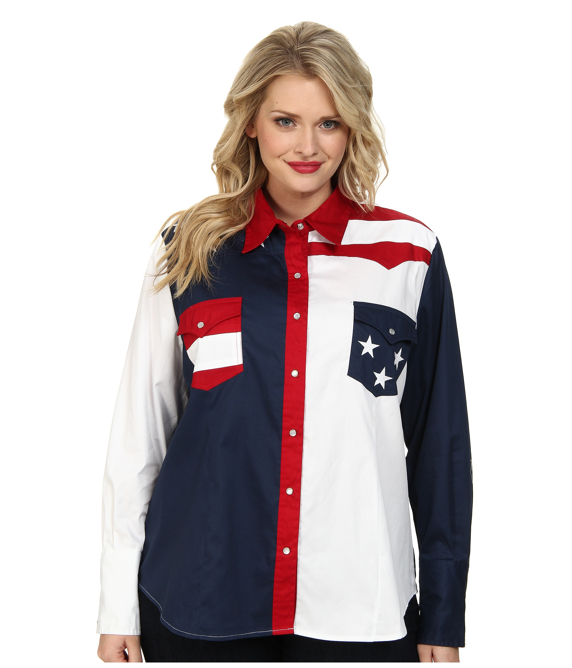 Roper Plus Size Pieced Stars And Stripes Patriotic in Red ...