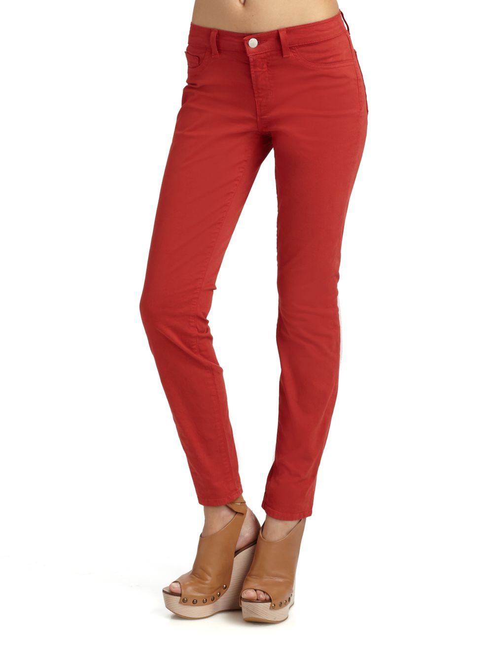 J brand Skinny Twill Pants in Red | Lyst