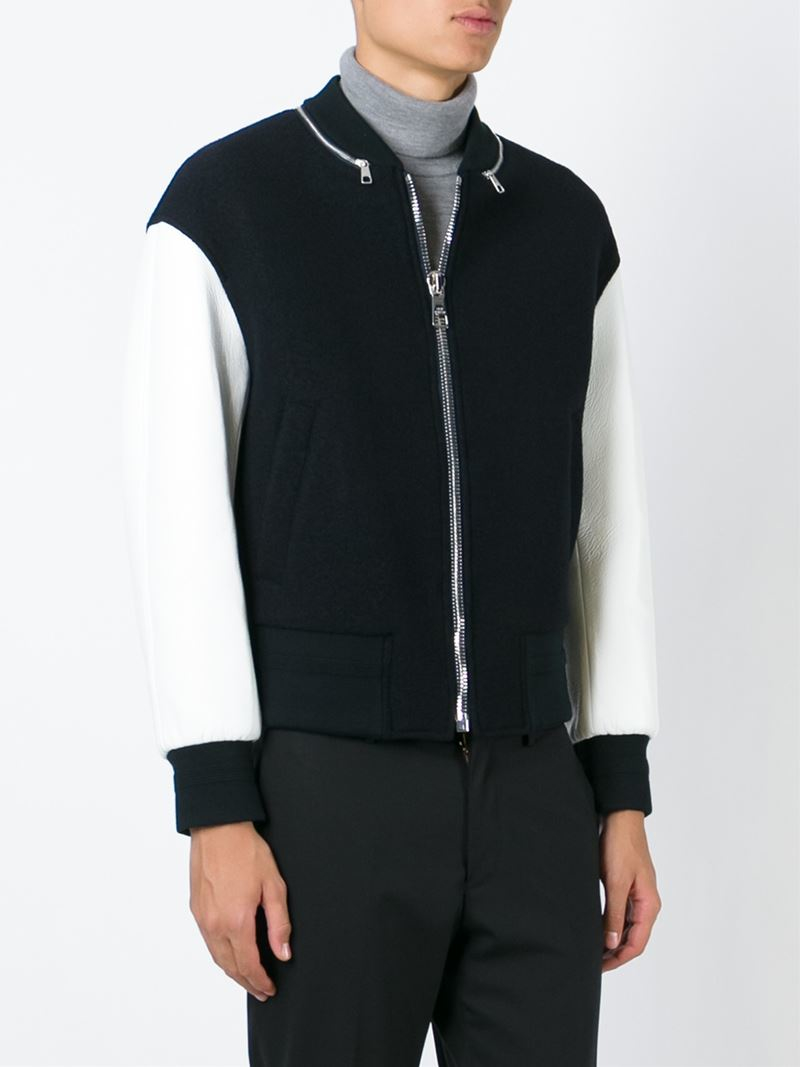 Neil Barrett Zipped Neck Varsity Jacket in Black for Men