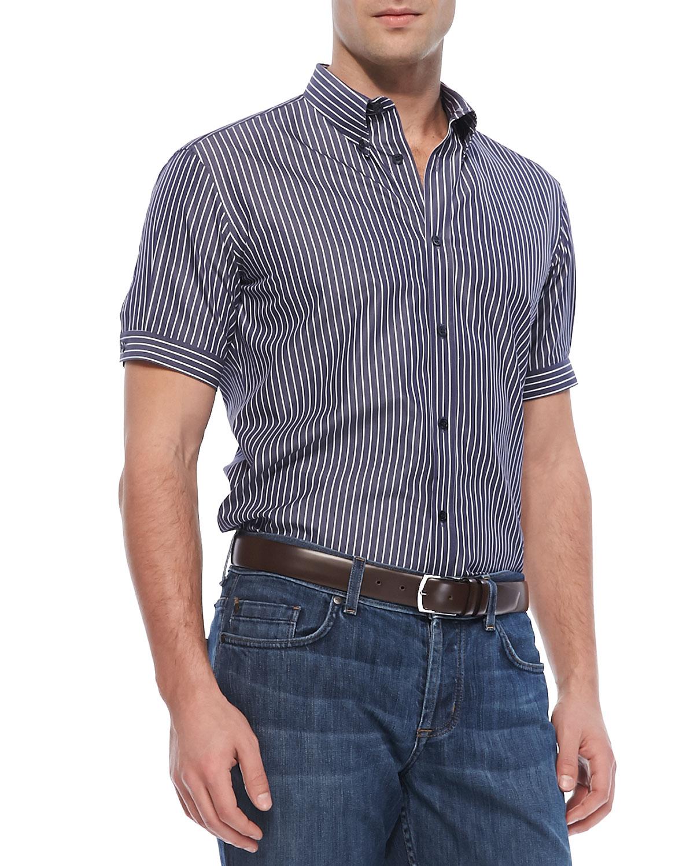 Alexander mcqueen short sleeve striped button down shirt for Boys short sleeve button down shirt