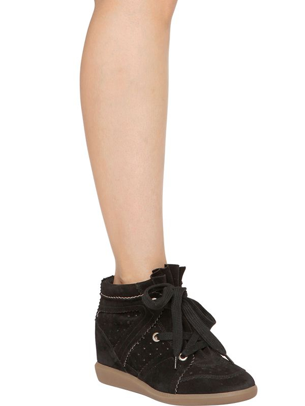 4f11dc68e55c Lyst - Isabel Marant Etoile 80Mm Bobby Suede Wedge Sneakers in Black