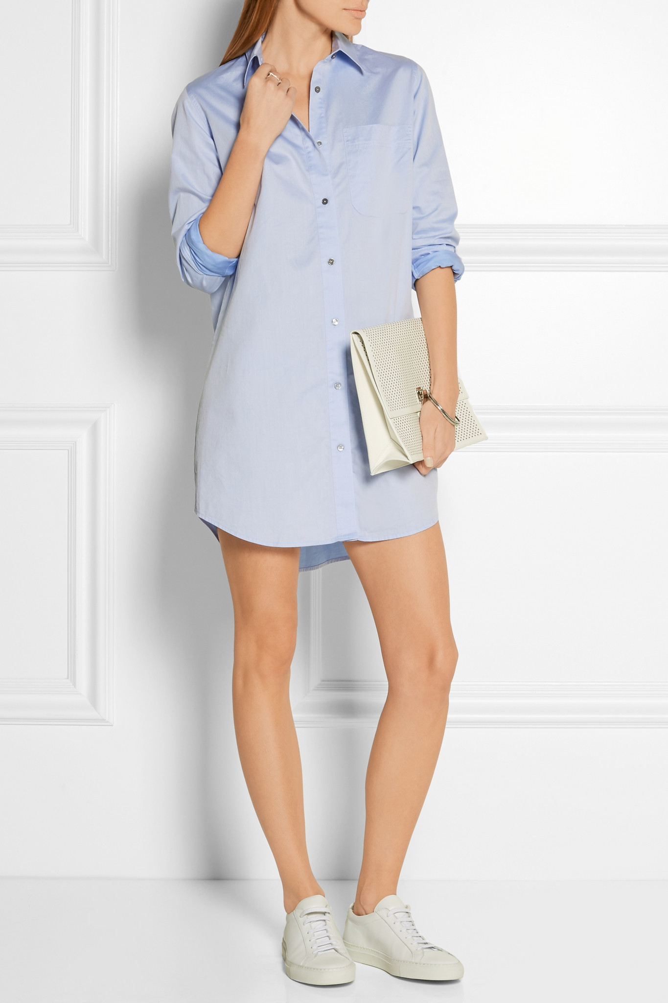 399d6d1beb6 T By Alexander Wang Cotton-poplin Mini Shirt Dress in Blue - Lyst