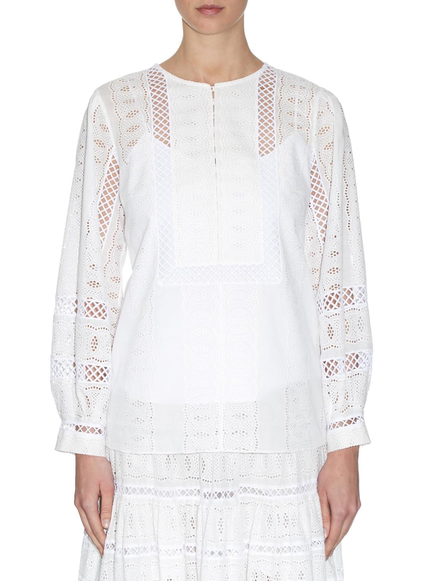 oscar de la renta broderie anglaise cotton blouse in white lyst. Black Bedroom Furniture Sets. Home Design Ideas