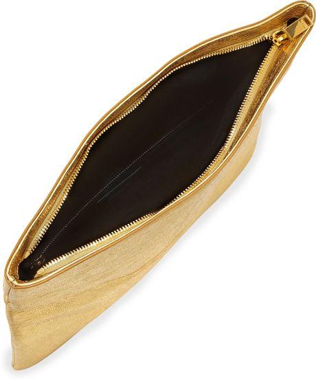 laurent logo letters large foldover clutch bag gold