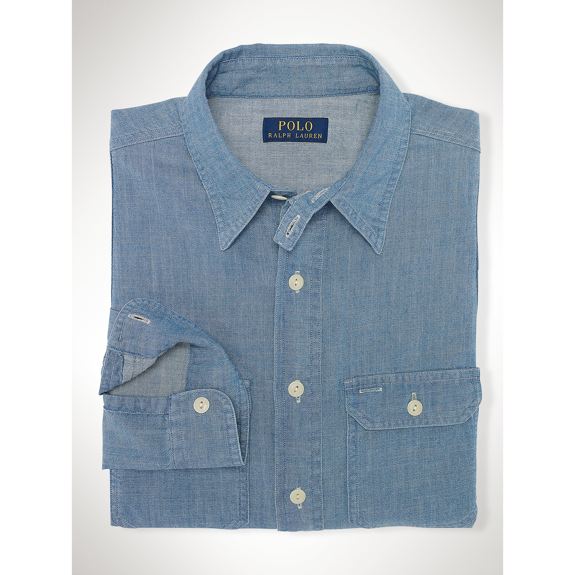 Polo Ralph Lauren Chambray Cotton Workshirt In Blue For