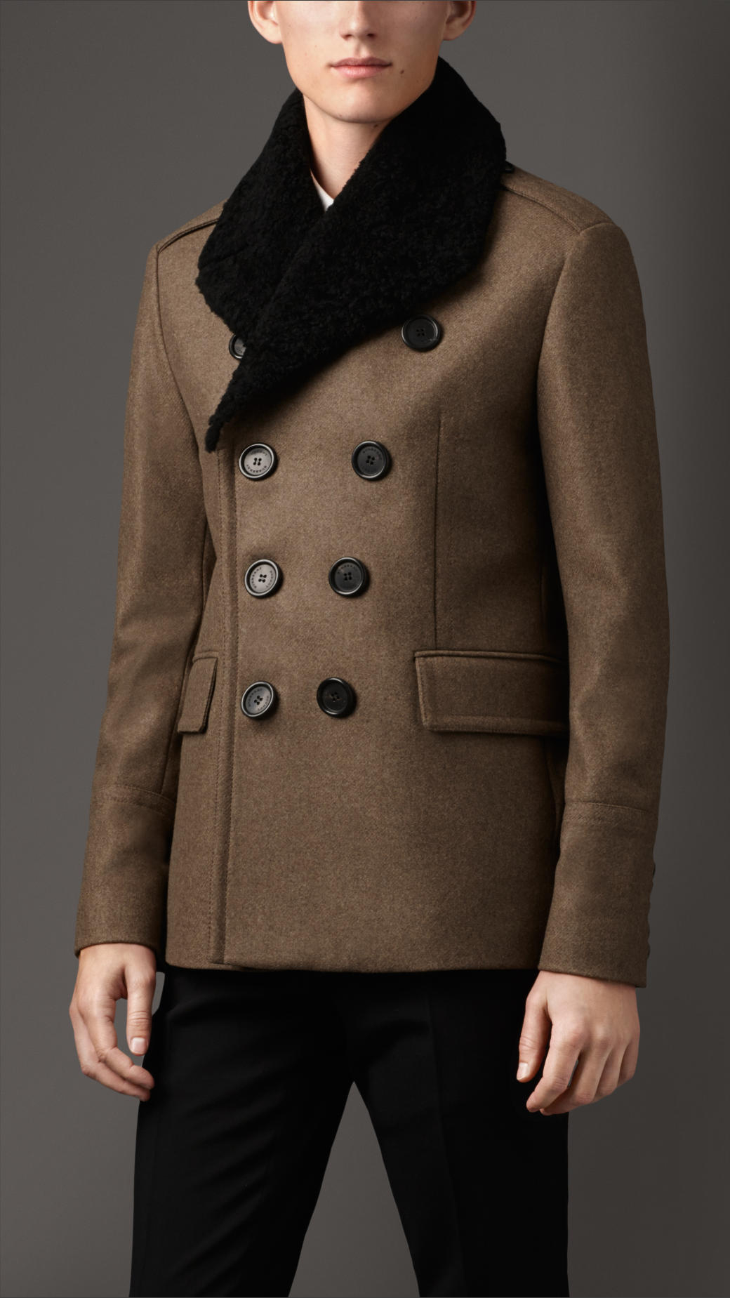 Burberry Shearling Topcollar Wool Blend Pea Coat in Green for Men