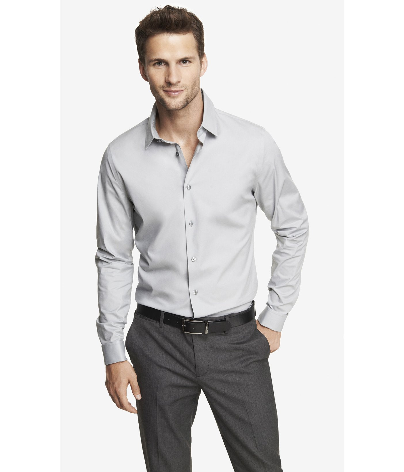 Express fitted french cuff 1mx shirt in gray for men lyst for Cuff shirts for men