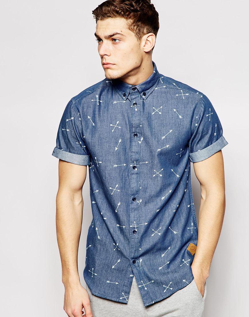 58e238bf6cd Lyst - Jack   Jones Short Sleeve Denim Shirt With Arrow Print in ...