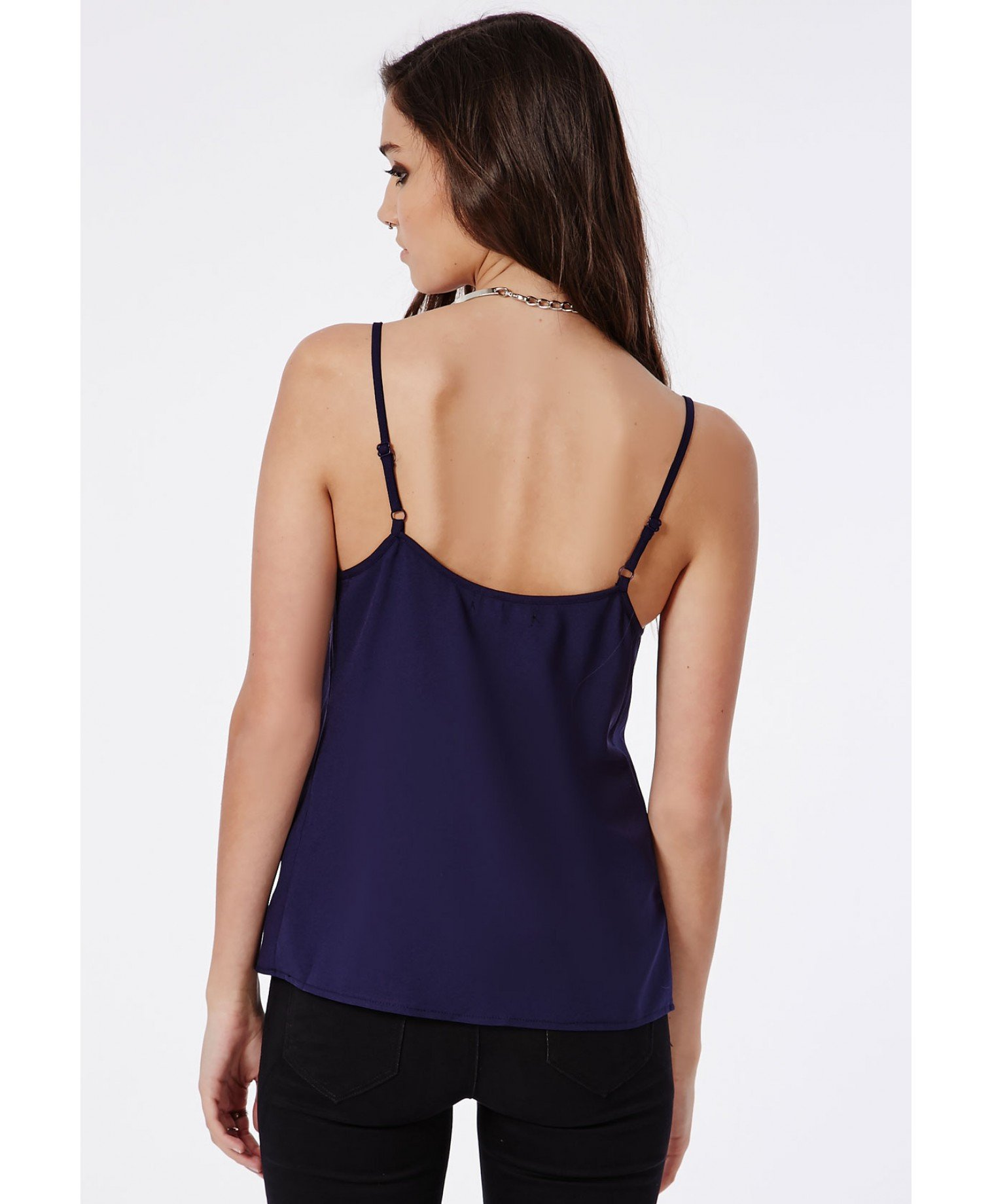 16c6db508092d Lyst - Missguided Alys V-Neck Cami Top Navy in Blue