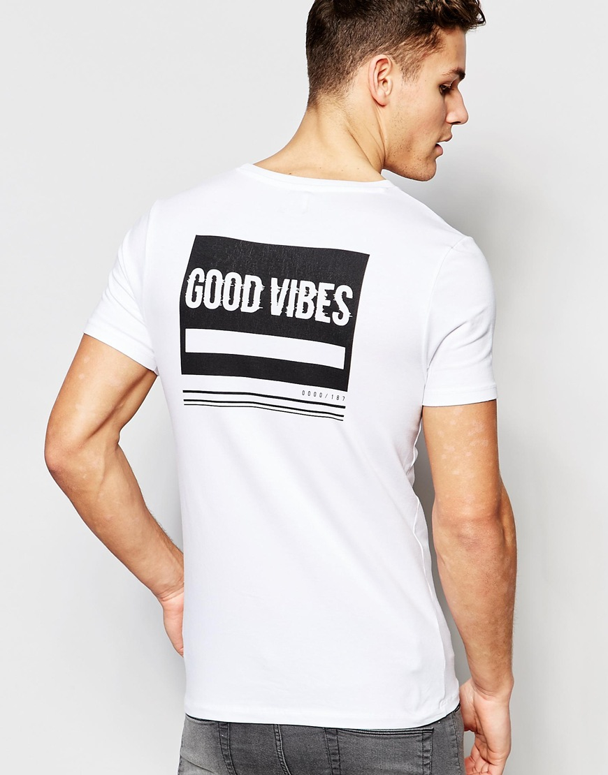 Asos Muscle T Shirt With Good Vibes Back Print In White In