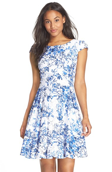 Betsey Johnson Floral Fit Amp Flare Dress In Blue White
