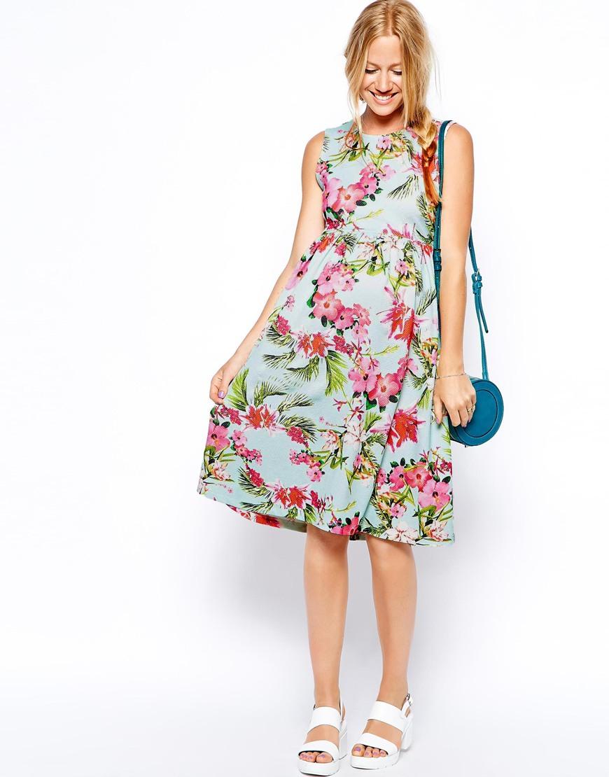 410f36e291f ASOS Maternity Scuba Skater Dress In Bright Peonie Print - Lyst