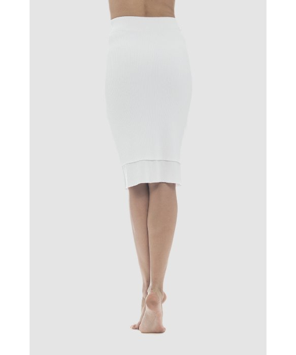 lime vine mila ribbed layer pencil skirt in white