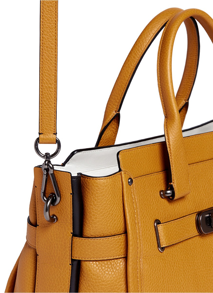 COACH X Blitz  swagger  Large Leather Tote in Yellow - Lyst ab544670086c2