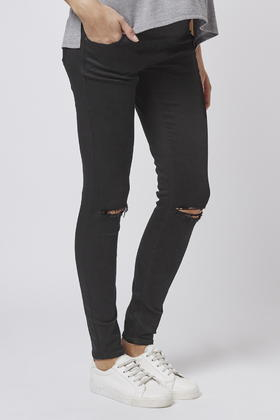 Topshop Maternity Moto Ripped Jamie Jeans in Black | Lyst