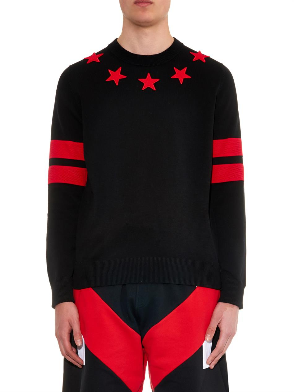 c16bb39edea07 Lyst - Givenchy Star And Stripes Cotton Sweater in Red for Men
