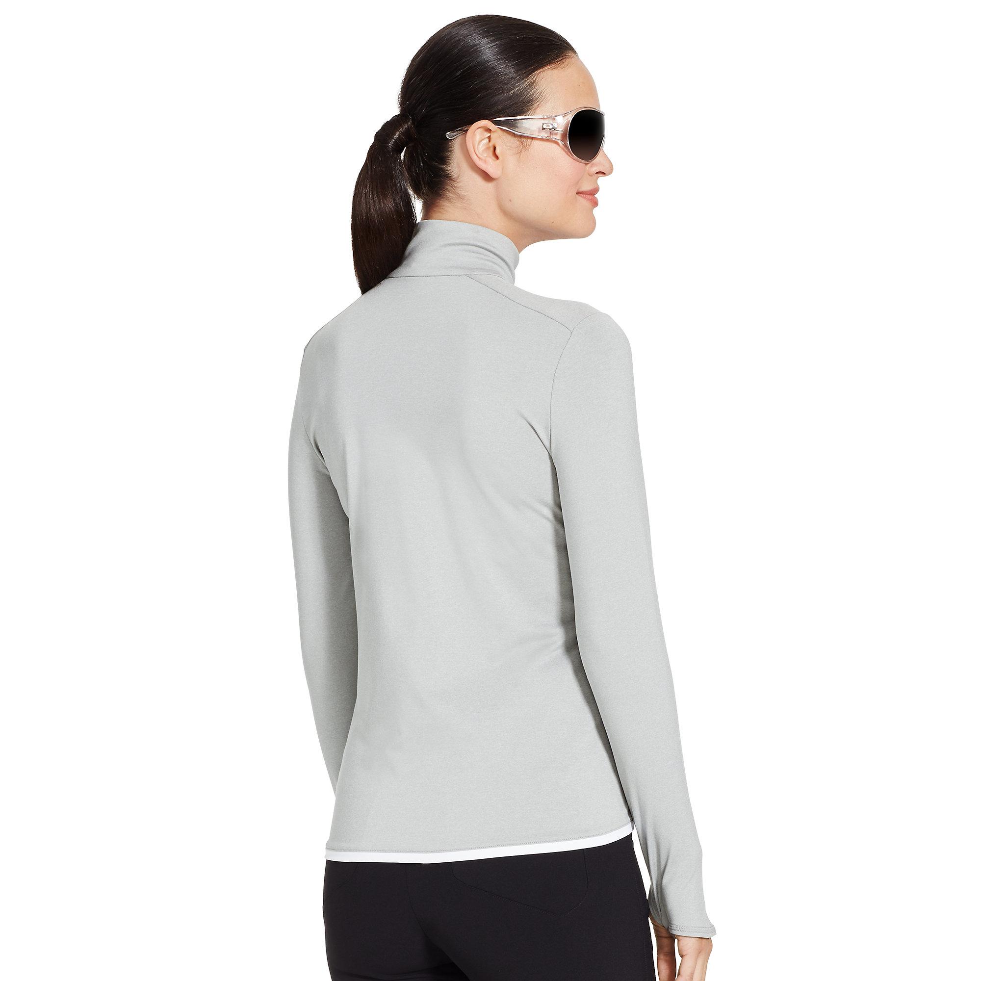 ralph lauren half zip mockneck pullover in gray grey w white lyst. Black Bedroom Furniture Sets. Home Design Ideas