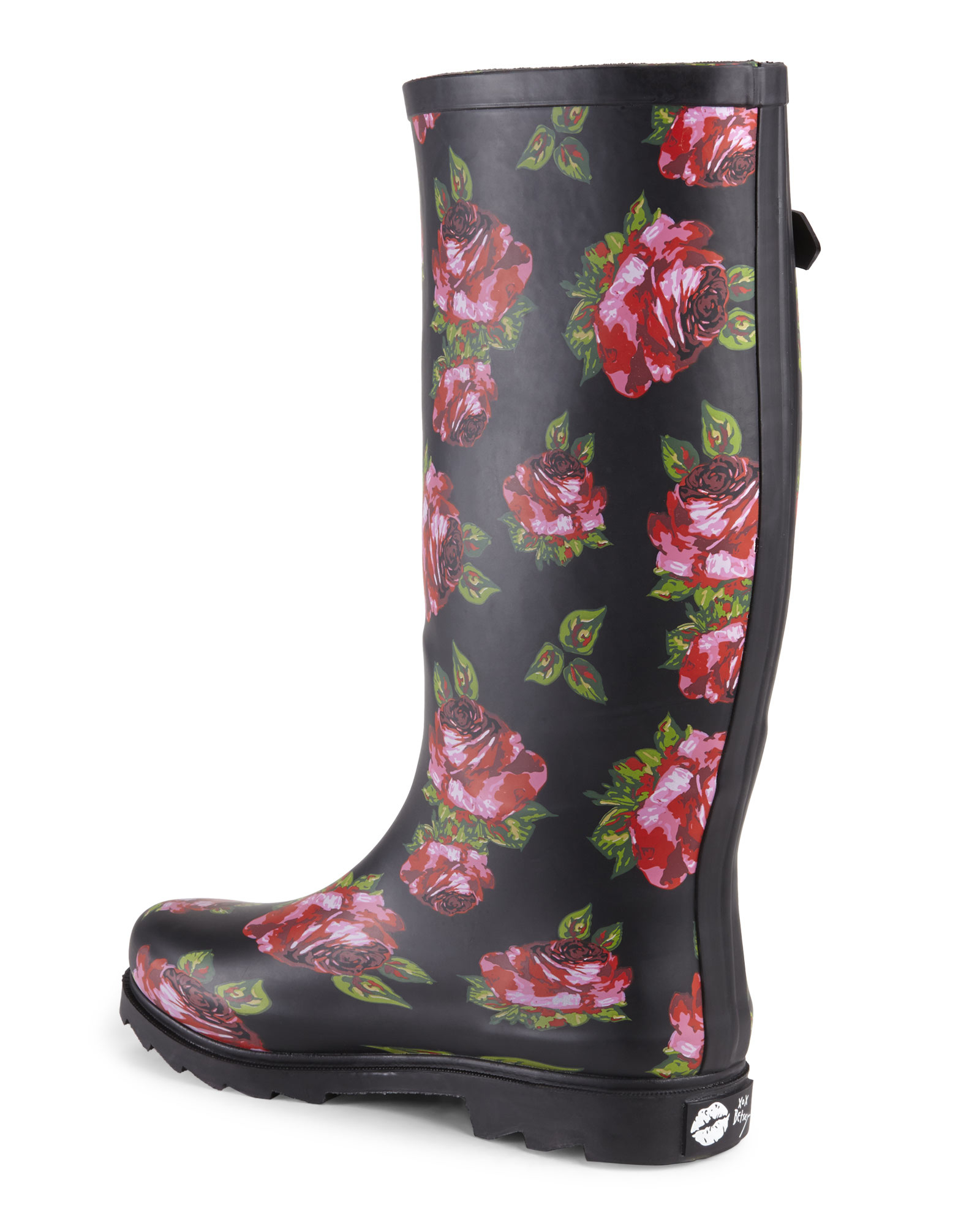 Betsey johnson Black Floral Drizle Rain Boots | Lyst