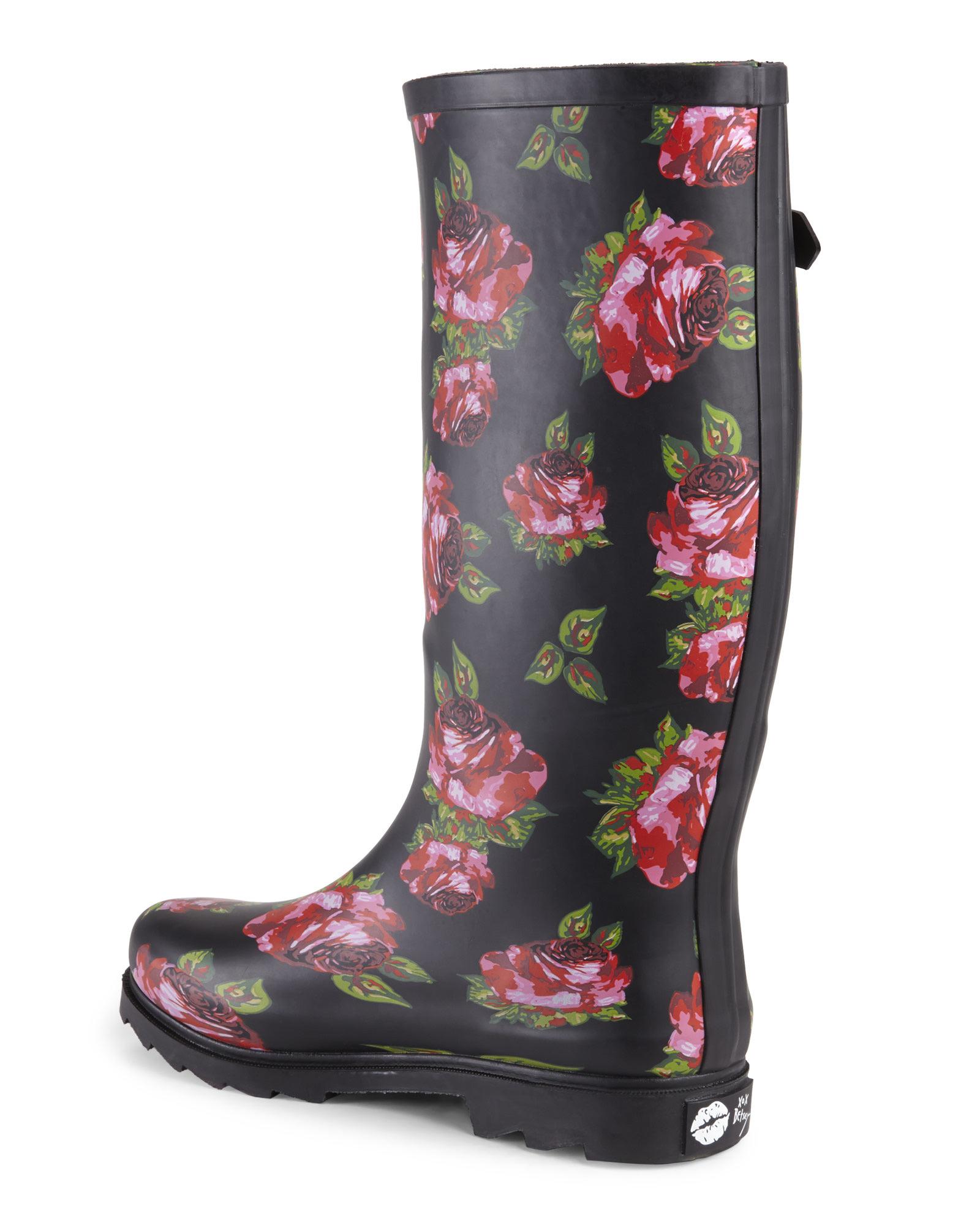Betsey Johnson Black Floral Drizle Rain Boots Lyst