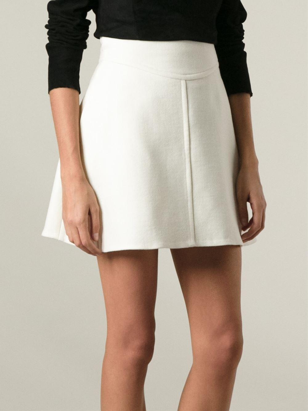 Lyst - Carven Short A-Line Skirt in White