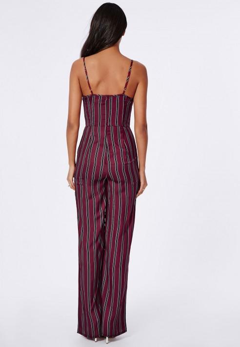 39002e5f348 Lyst - Missguided Silky Feel Stripe Plunge Jumpsuit Burgundy in Purple