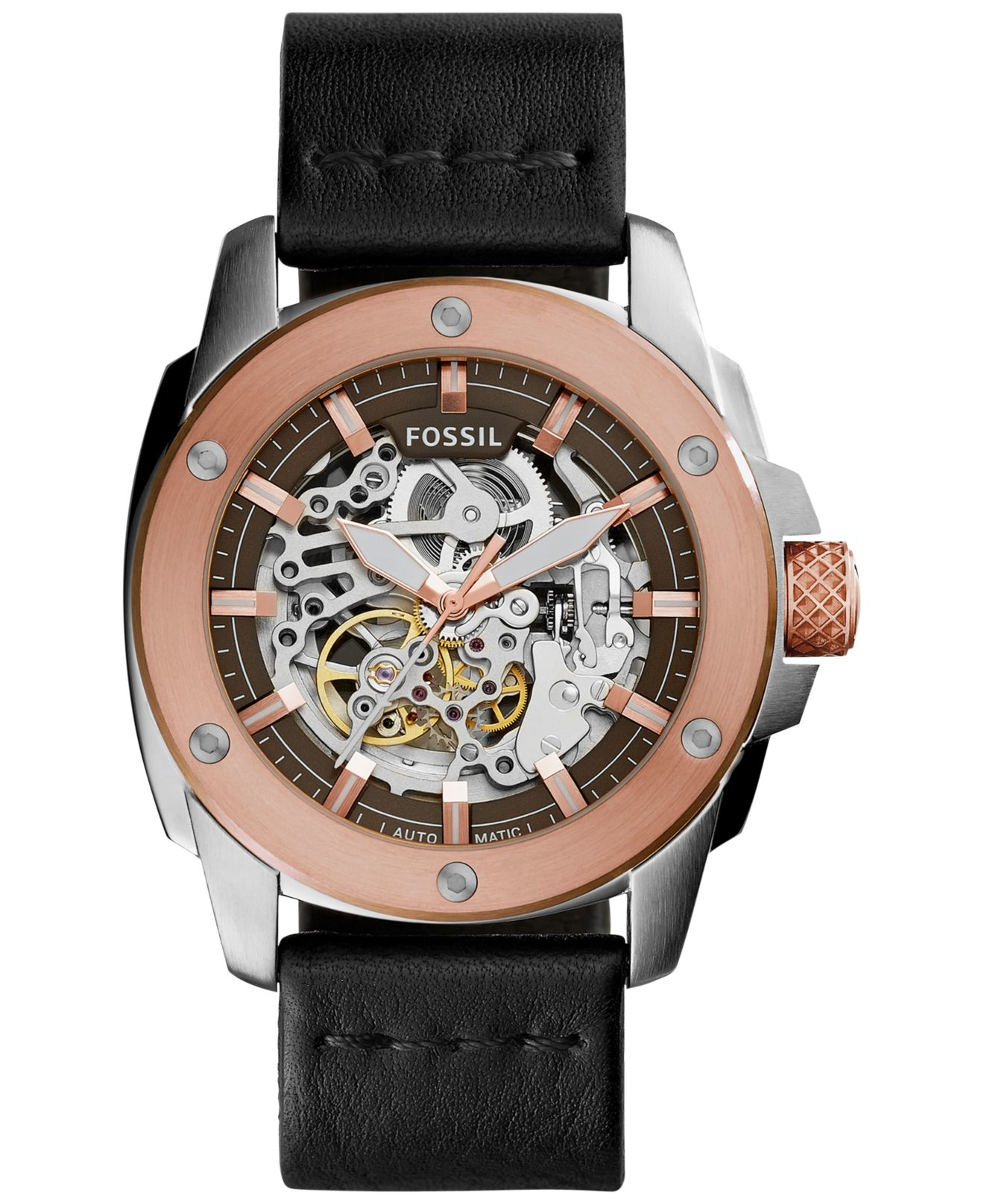 fossil s automatic modern machine black leather