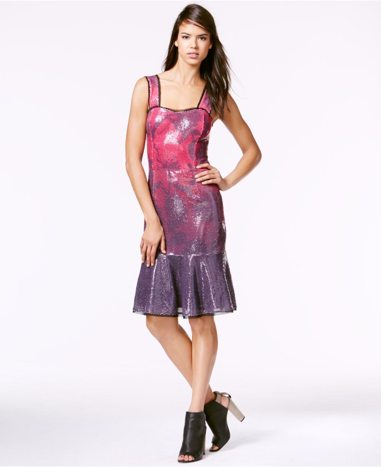 Rachel Rachel Roy Womens Drop-Waist Sequin Flounce Dress Bordeaux Combo, 2