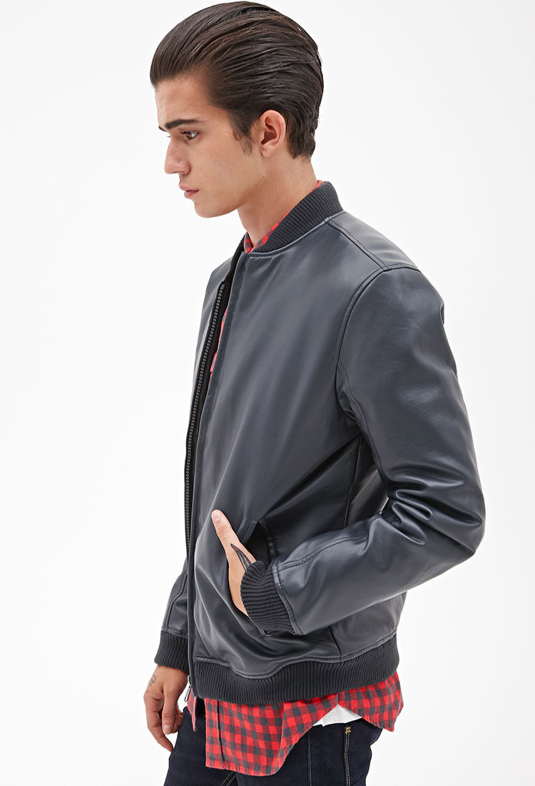 Forever 21 Faux Leather Bomber Jacket in Blue for Men | Lyst